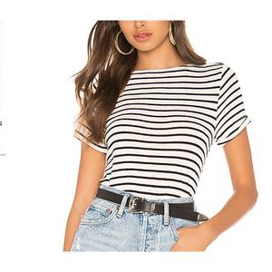 superdown Stef Boxy Tee in White & Black Stripes